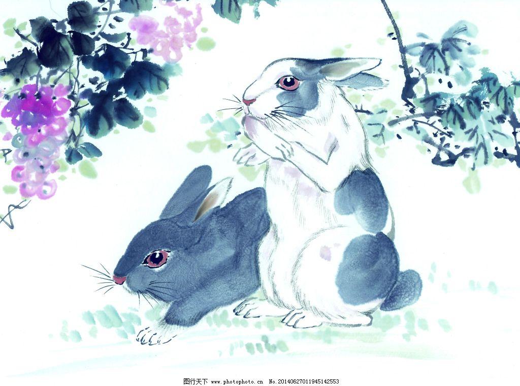 兔子吃草免费下载 葡萄 兔子 中国画 葡萄 兔子 中国画 装饰素材 无框