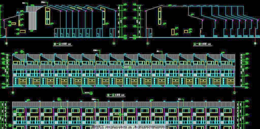 高尔夫别墅 联排别墅立面 叠加 公馆 立面图 平面图 剖面图 图纸