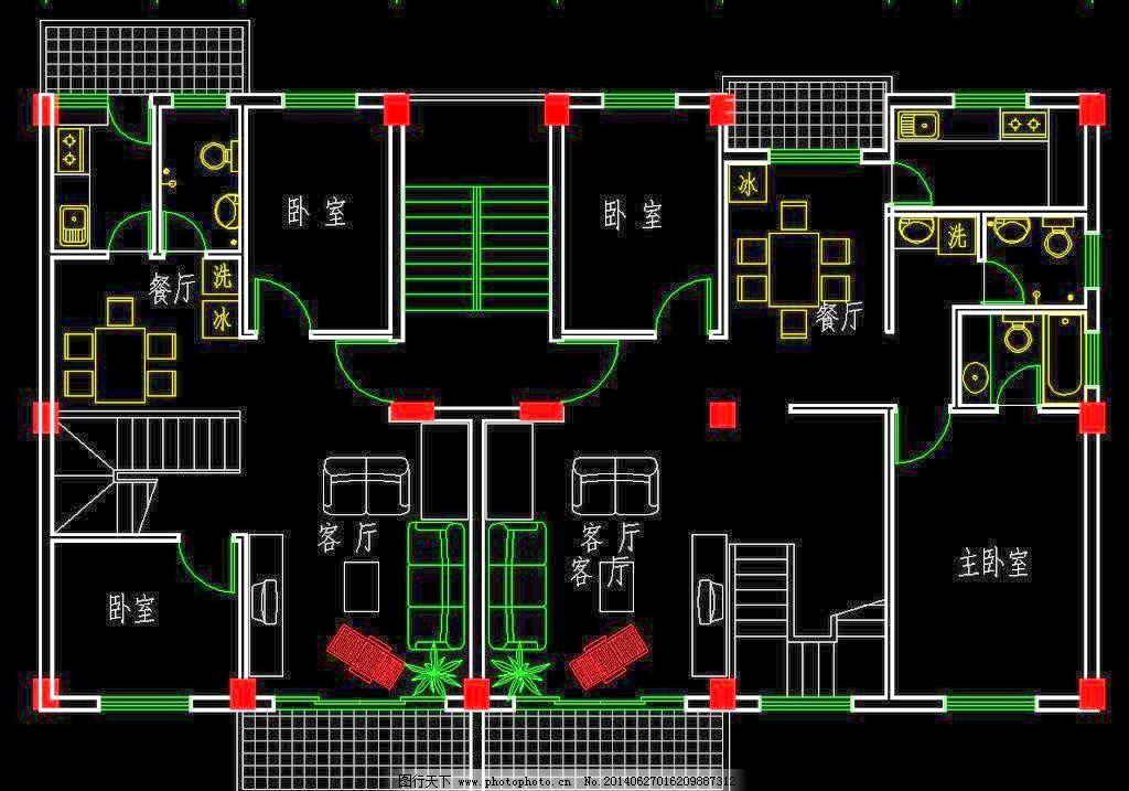 户型 塔楼 源文件 户型 两室一厅 中小户型 经济适用房 廉租房 板楼