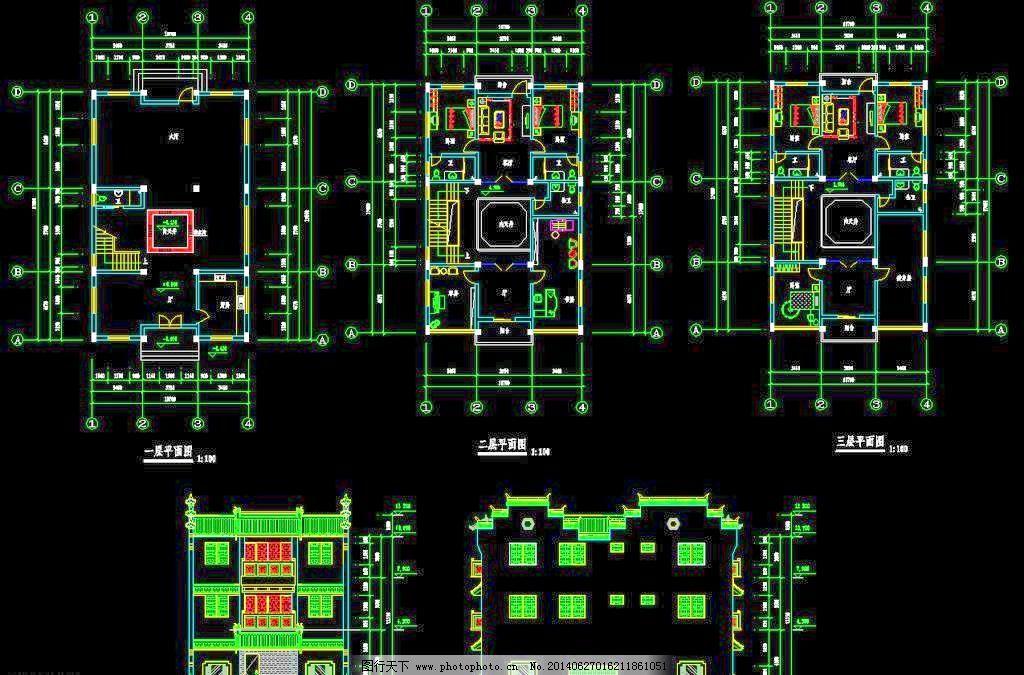 徽派建筑民居cad图 建筑设计 环境设计 源文件 dwg cad素材 室内图纸