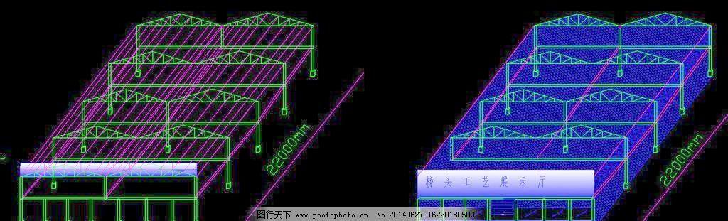 古家具展厅钢结构 钢构 钢筋 工程 桁架 建筑 施工图 网架 节点