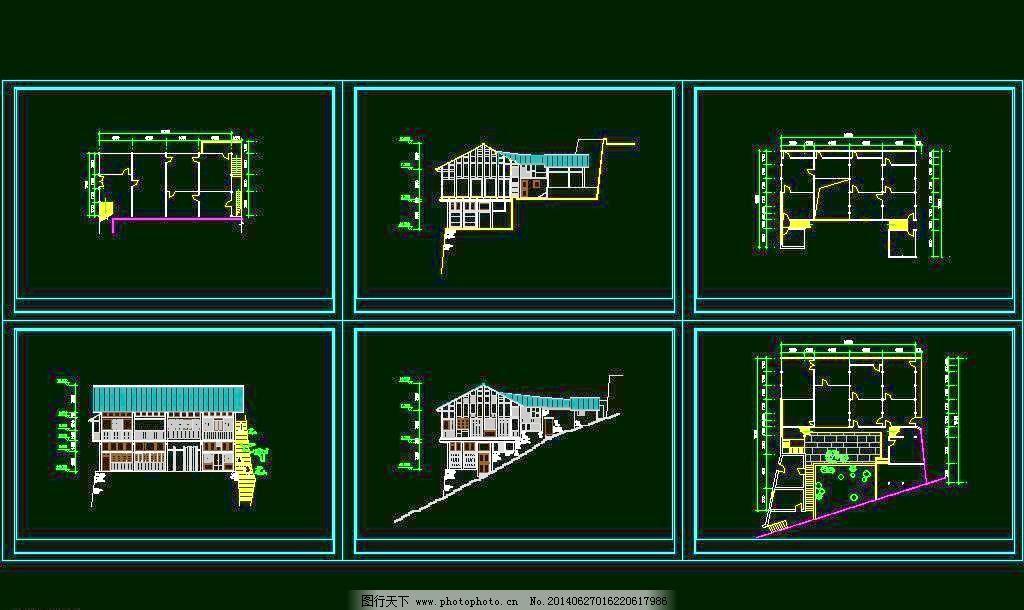 别墅 度假 公馆 豪宅 环境设计 建筑设计 立面图 平面图 剖面图 山地