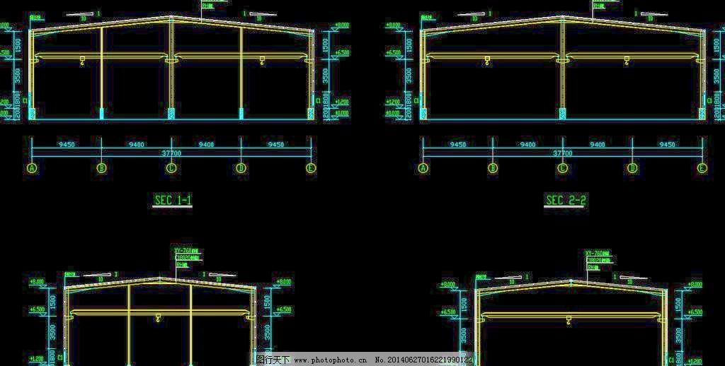 钢结构厂房 剖面