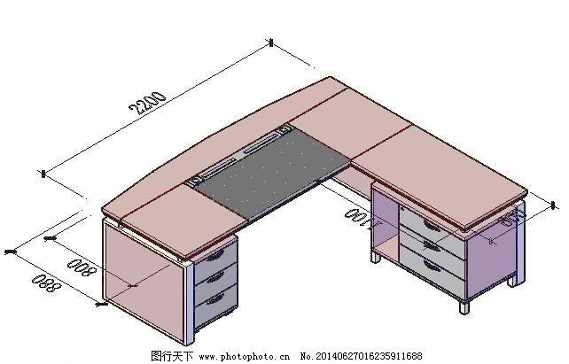 cad立体班台设计模块_室内图纸