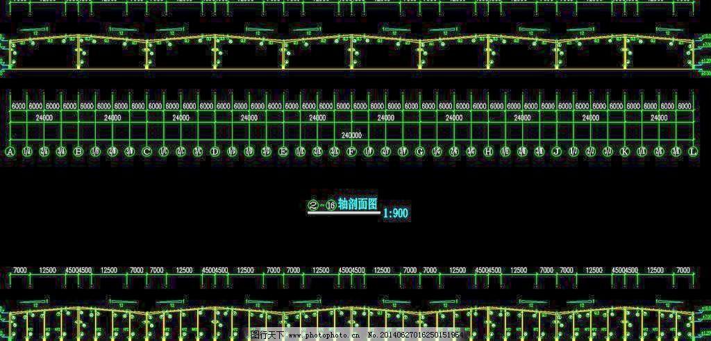 钢结构厂房 轴剖面图