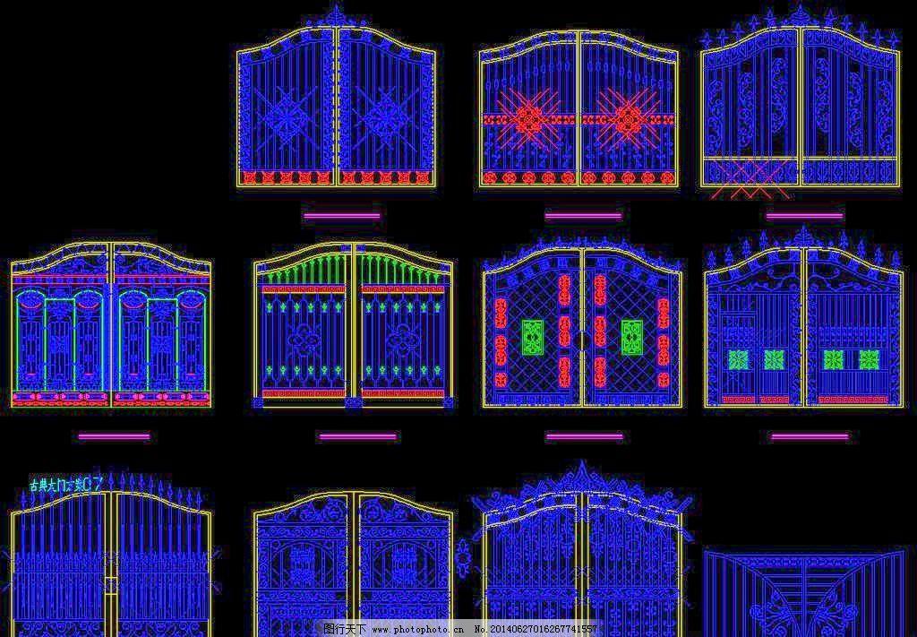 古塔 花架 环境设计 建筑设计 仿古院落大门大全 cad dwg 图纸 平面图图片