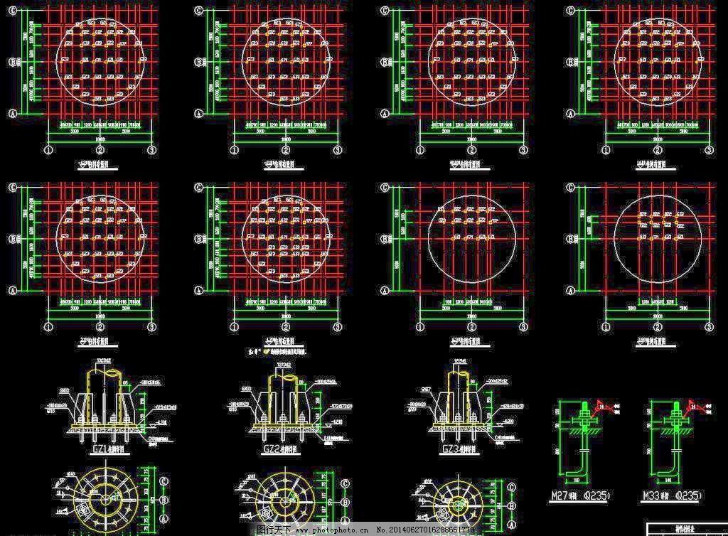 仿古观音柱网柱脚 佛教 钢构 钢结构 工程 古塔 桁架 施工图