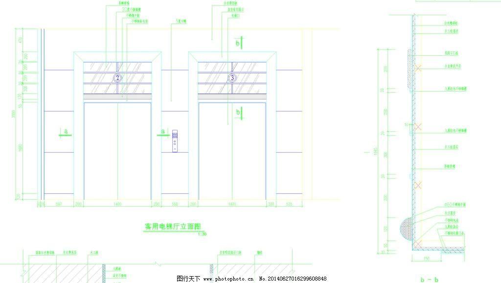 藏式图纸图纸厅立面_室内宾馆_CAD电梯_图行素材剪果图片