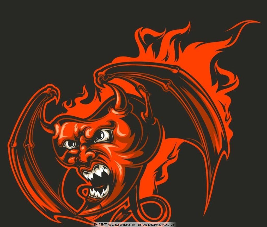 魔头_恶魔 纹身图案 魔鬼 魔鬼翅膀 魔头 卡通设计 设计 设计 eps