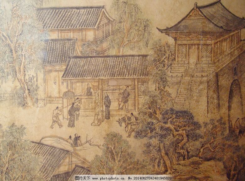中国古城ppt背景模板 装饰画