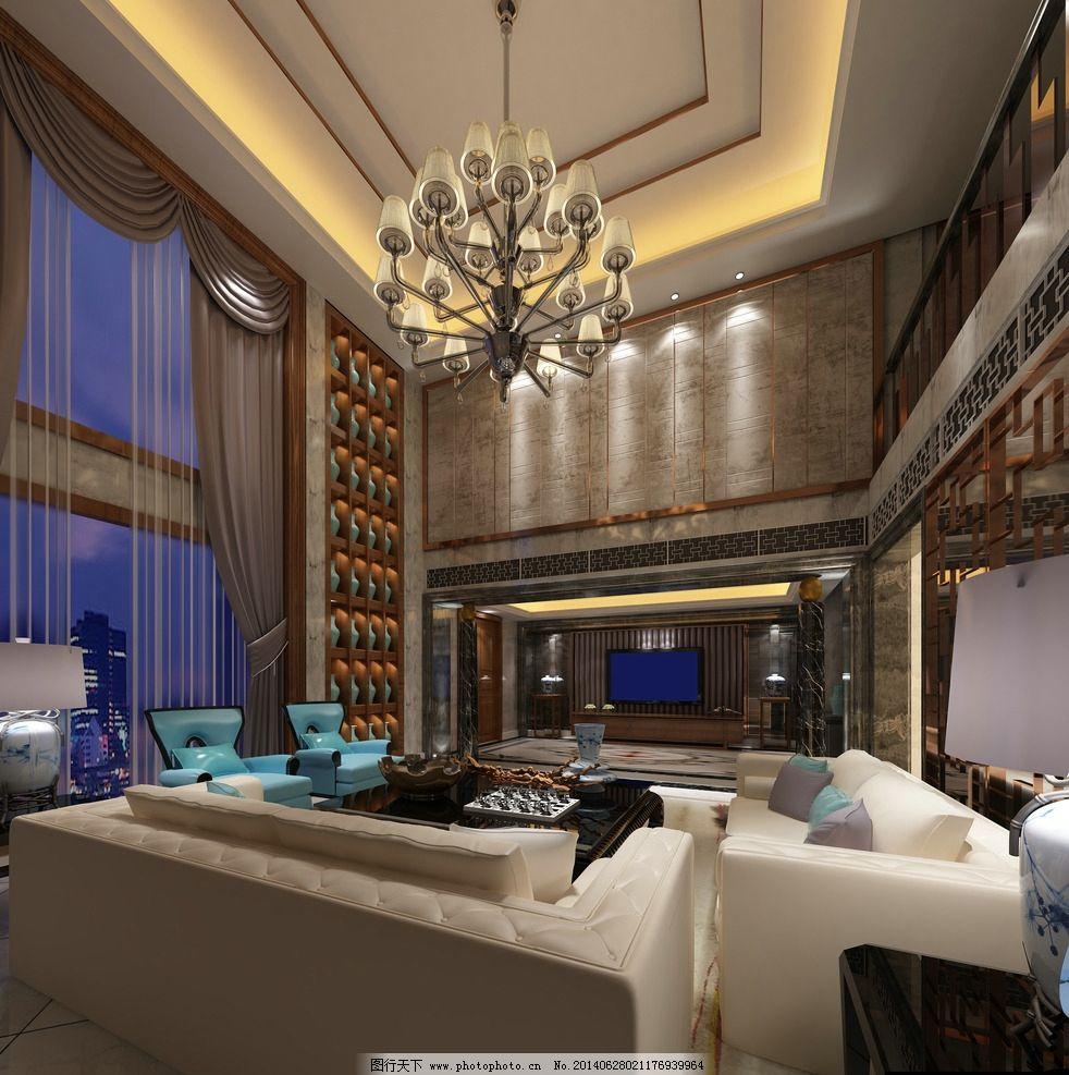 别墅客厅设计 别墅 样板间      设计        3d效果图 室内模型 3d