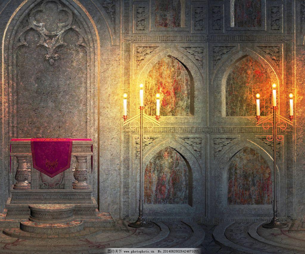 哥特式宫殿内部背景图片