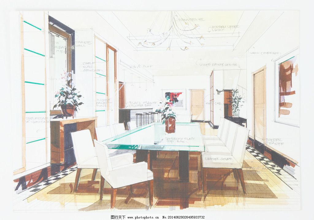 对餐厅的室内设计简单的素描图片
