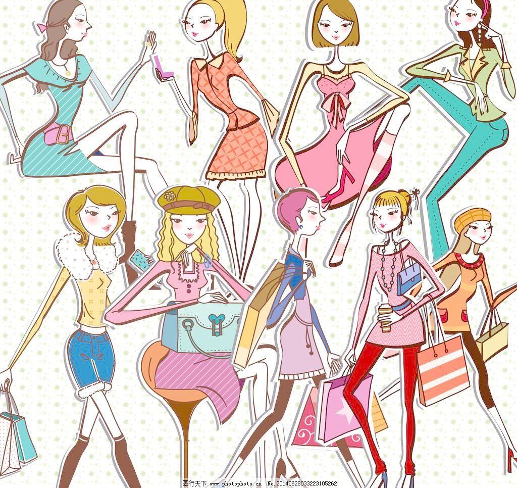 卡通 时尚 美女 线条 手绘