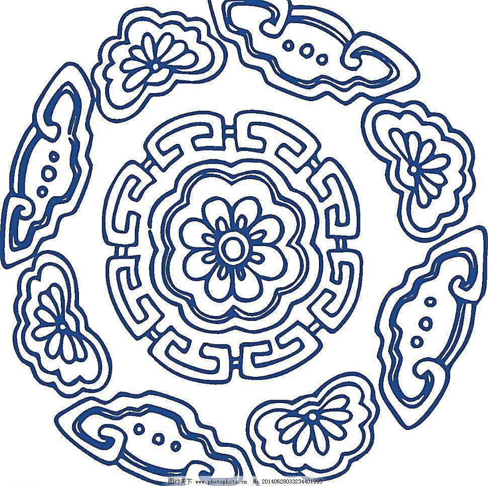 陶瓷纹样 陶瓷 手绘花纹 花卉 花矢量 植物矢量 青花矢量图 青花瓷盘