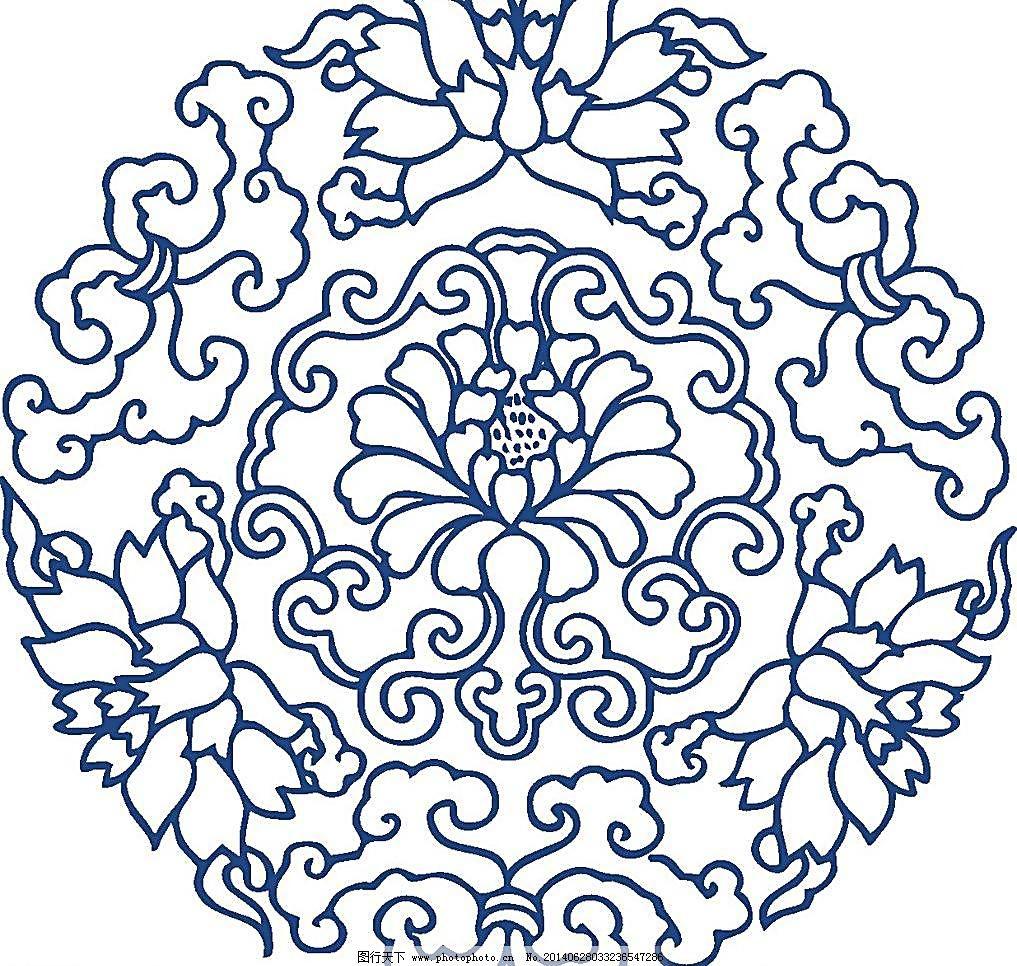 手绘花纹 花卉 花矢量 青花瓷图案 青花瓷纹样 青花瓷 青花 瓷器 陶瓷