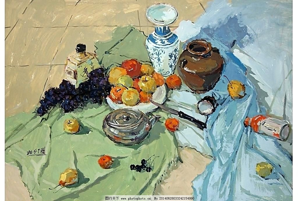 不锈钢壶 青花瓷 葡萄 盘子 刀子 水果 管子 酒瓶 水粉 苹果 绘画