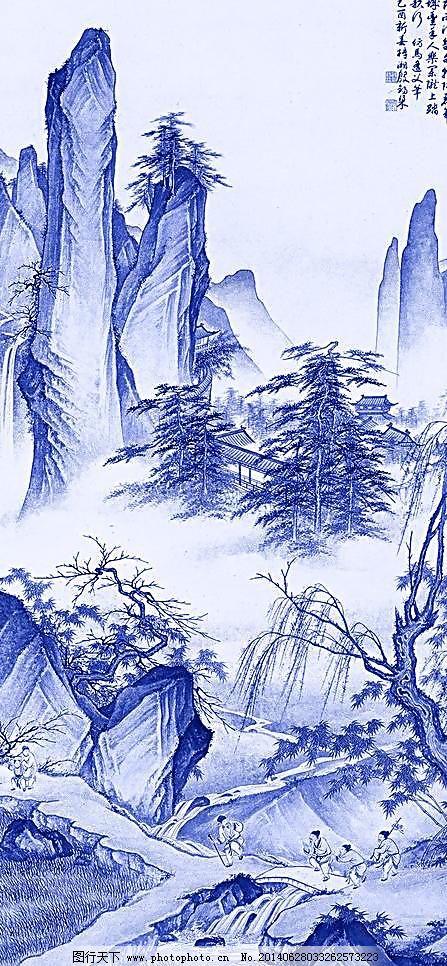 国画 绘画书法 兰花 蓝 青花瓷 设计 陶瓷 文化艺术 青花山水画 青花
