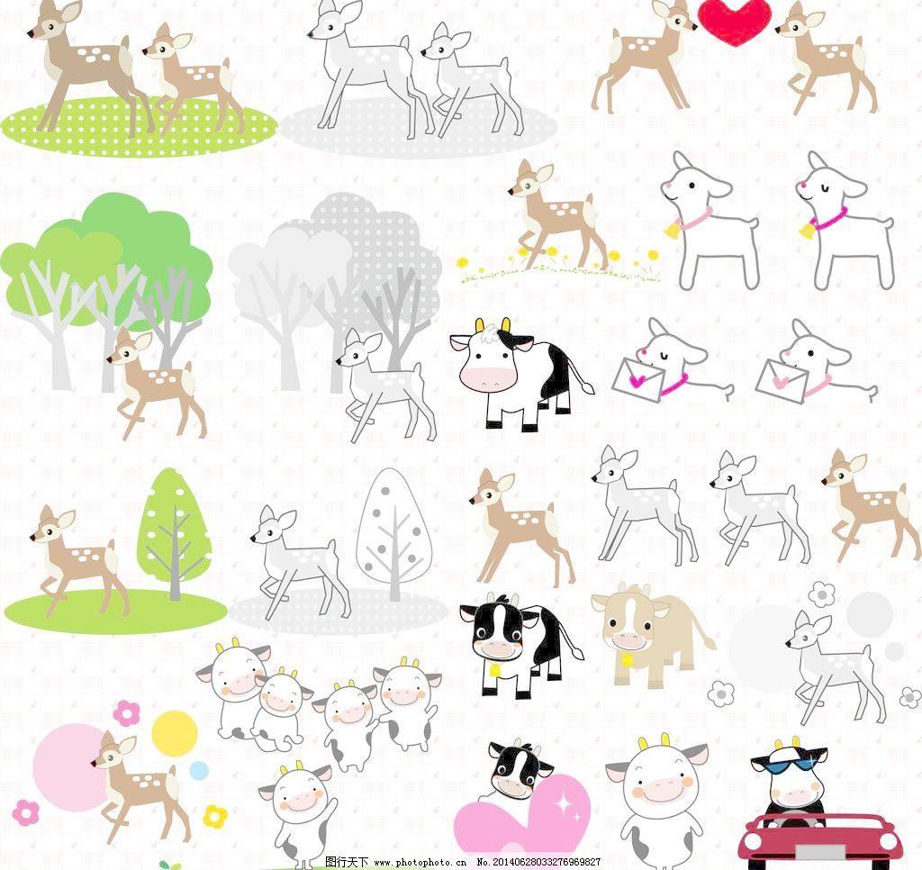 卡通可爱小鹿与小牛