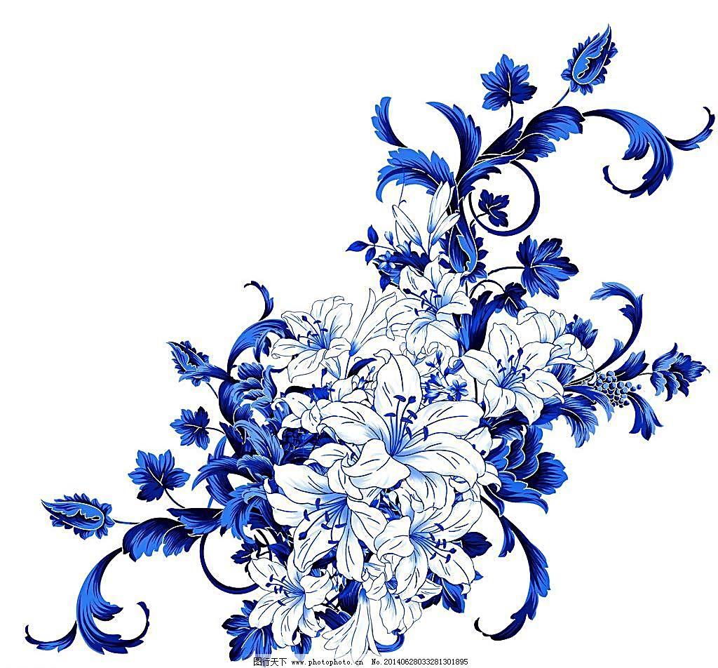 青花 青花瓷素材 底纹花纹 陶瓷花纹 陶瓷兰彩 百合 花儿 牡丹 兰花