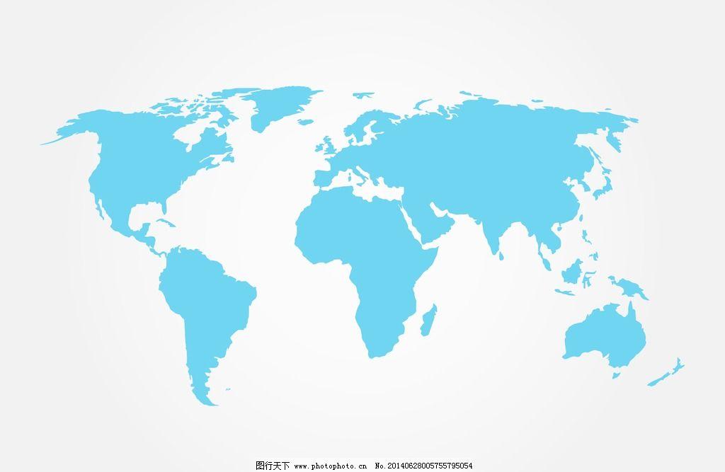 蓝色的世界地图矢量