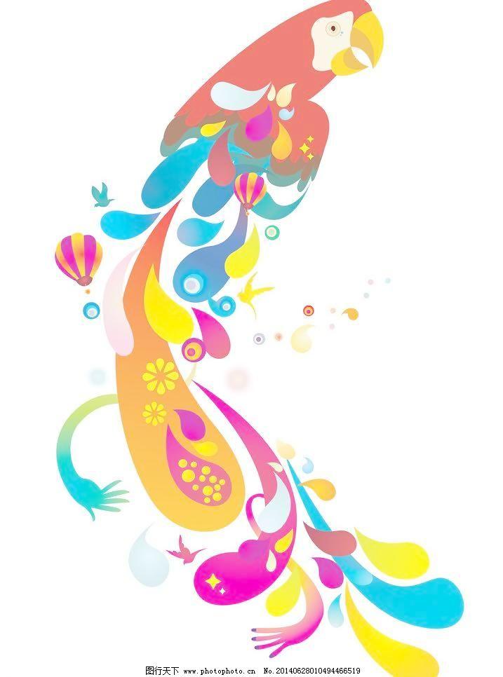 背景分层 彩色 传统文化 大气 底纹 动物 古典 鹦鹉 绘画 可爱 小鸟
