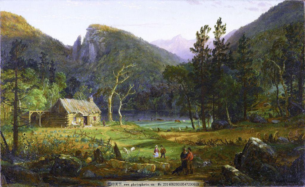 欧式油画 世外桃园 欧式油画免费下载 草地 风景画 风景油画
