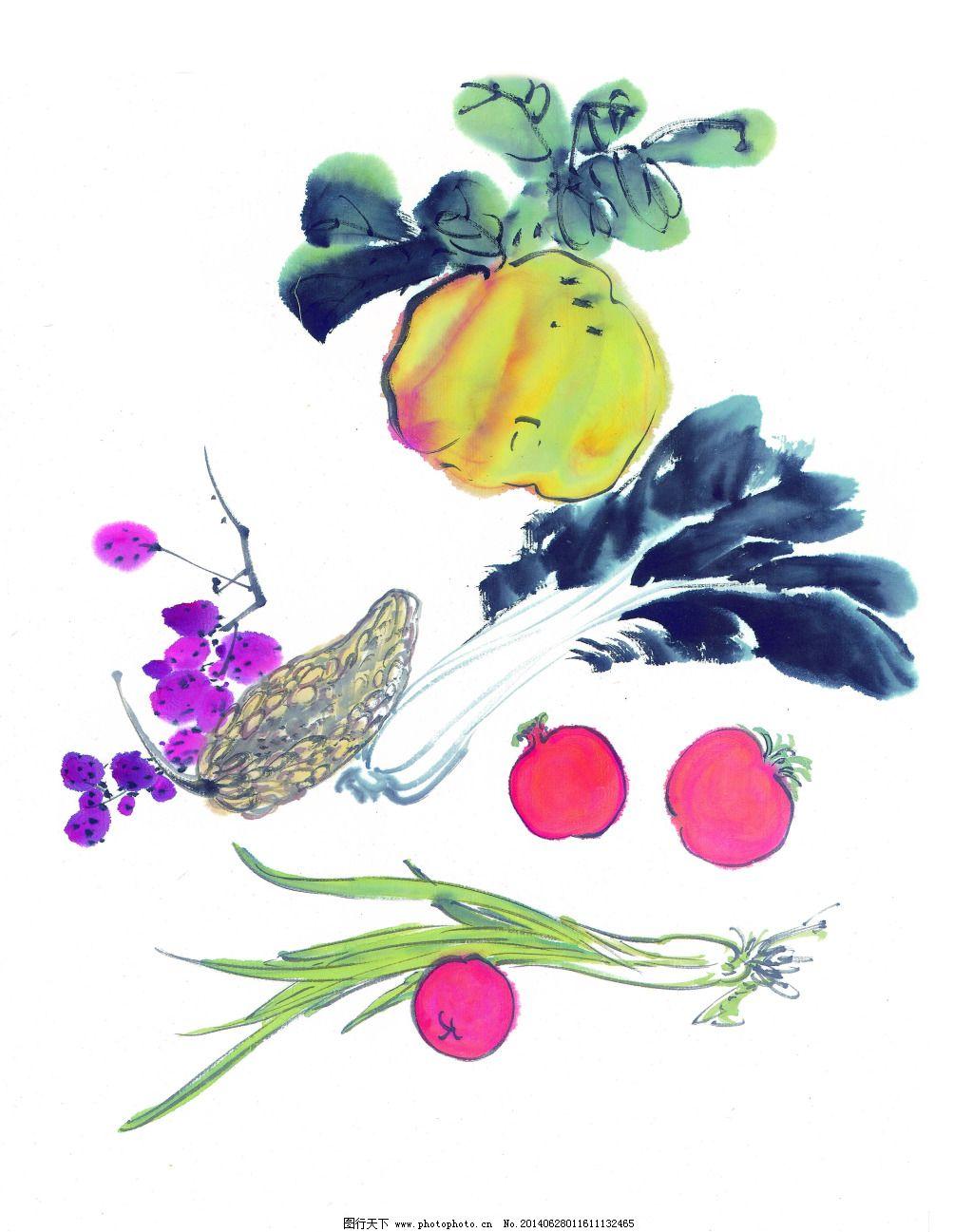 蔬菜免费下载 工笔画 绘画 美术 泼墨 水墨 文化艺术 写意 中国画