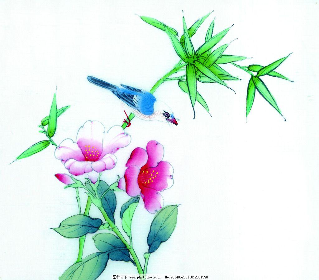 牡丹花鸟免费下载 白描 工笔画 古画 花卉 花鸟 绘画 美术 泼墨 水墨