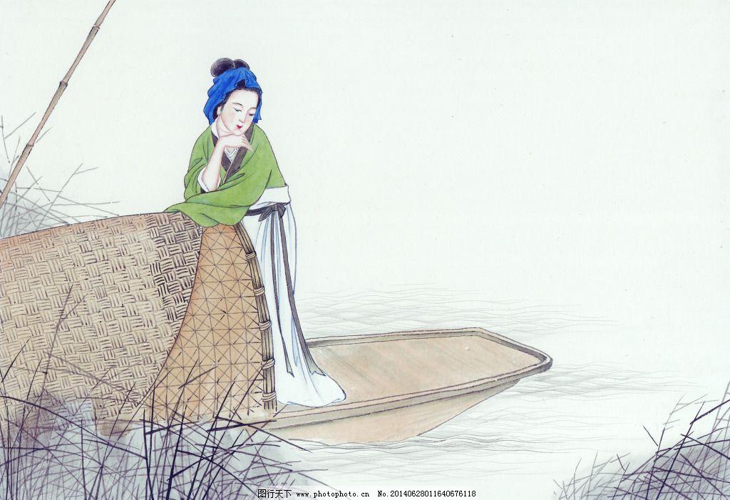 小船美女免费下载 工笔 古代美女 古典 国画 绘画 美女 侍女 小船