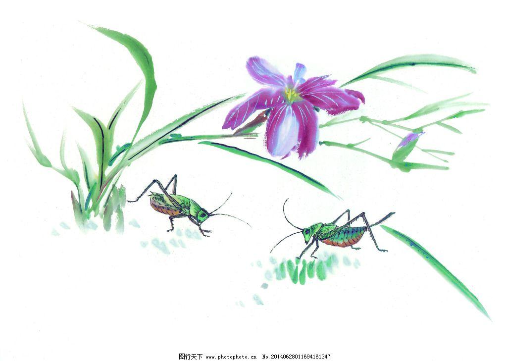 蚂蚱小草 蚂蚱小草免费下载 白描 工笔画 绘画 美术 泼墨 人物