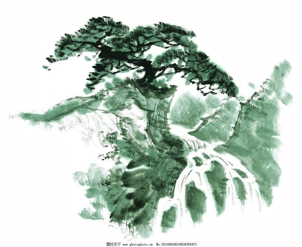 国画松树免费下载 白描