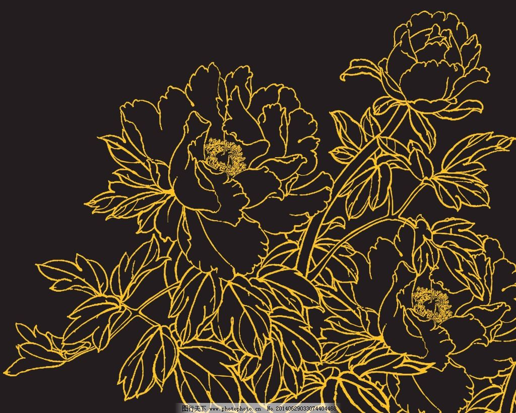 牡丹花线稿免费下载 牡丹 素描 线稿 牡丹 素描 线稿 psd源文件 其他