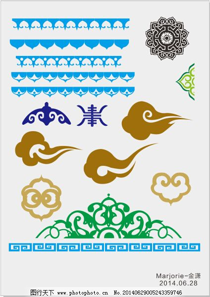 蒙古花纹框_蒙古花纹元素
