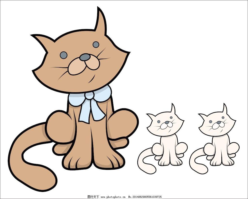 可爱的卡通猫和小猫卡通插画矢量