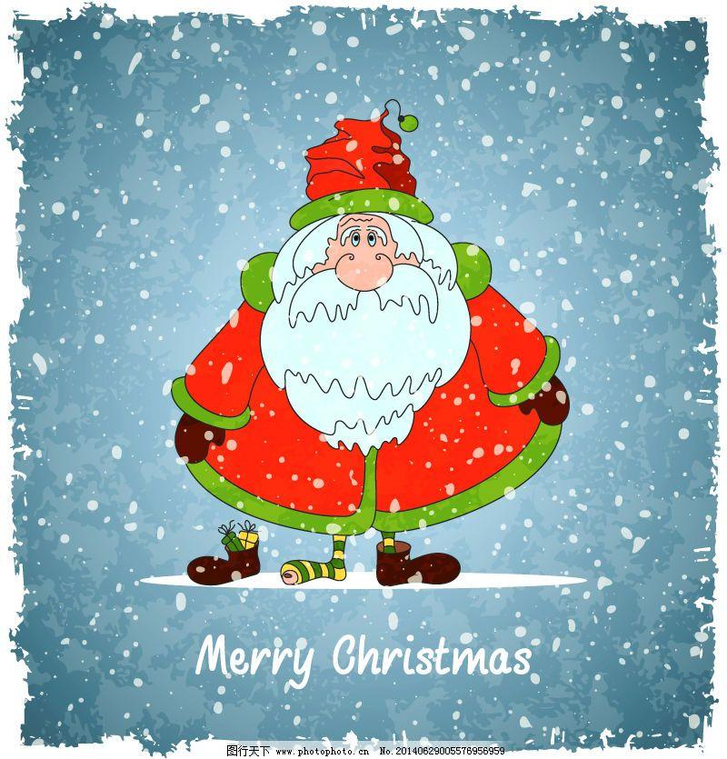 搞笑雪中圣诞老人插画矢量素材
