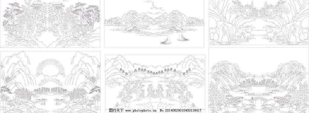装饰素材 移门  cdr 白描 边框 草 底纹 雕刻 房子 花边 山 山水风景