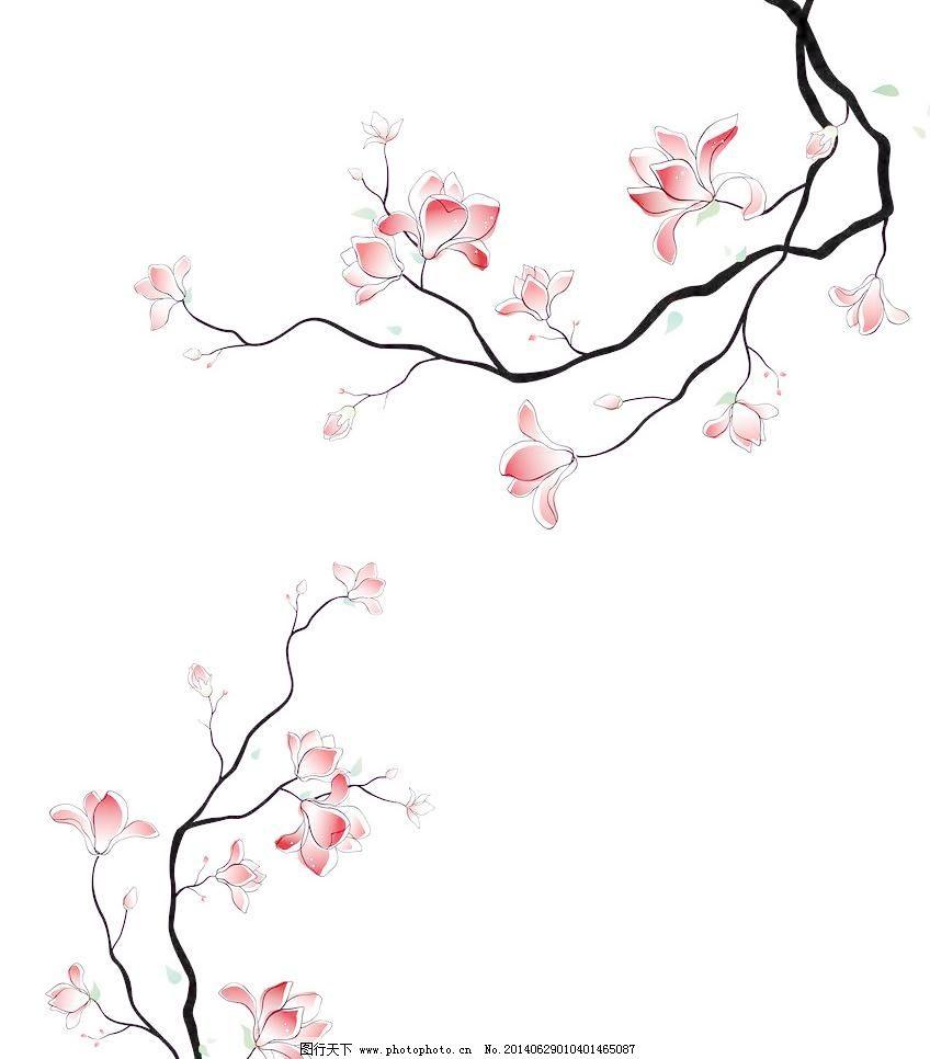 树枝 红花 手绘花 简洁 对角 移门 时尚 设计素材 移门图案 底纹边框