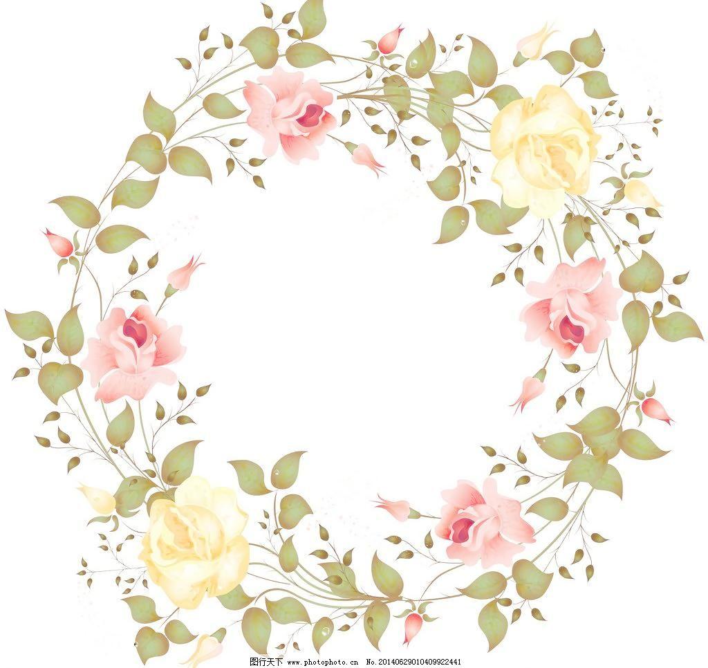 花框 玫瑰边框 玫瑰 花环 玫瑰花 粉玫瑰 黄玫瑰 玫瑰花环 花框 手绘