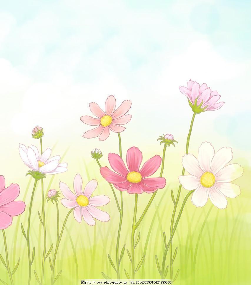 花朵 花朵免费下载 白云 草地 插画 底纹边框 花草 可爱 蓝天