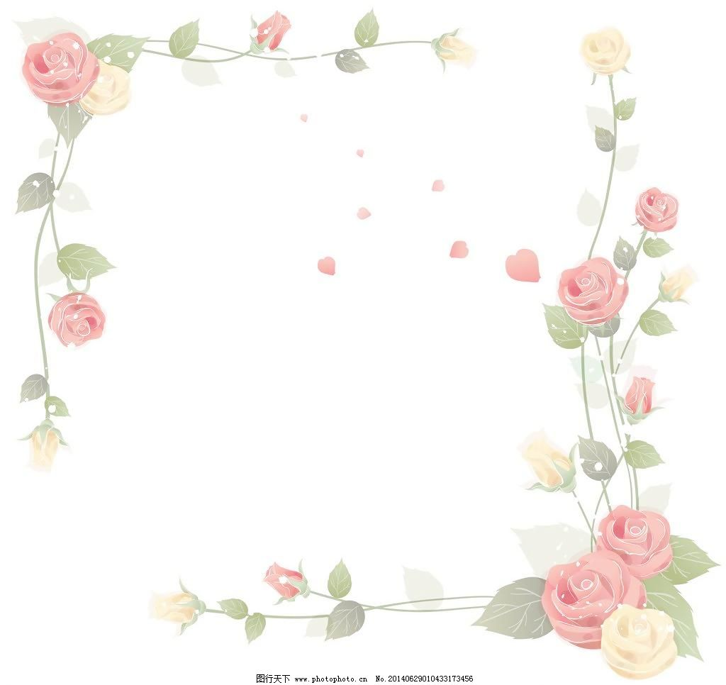边框 梦幻 粉玫瑰 手绘花纹 手绘花朵 移门花纹 欧式复古 花纹 背景