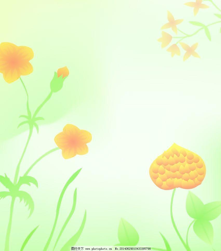花草 花 花儿 花朵 花苞 黄花 红花 绿叶 花茎 绿色 梦幻 移门图案图片