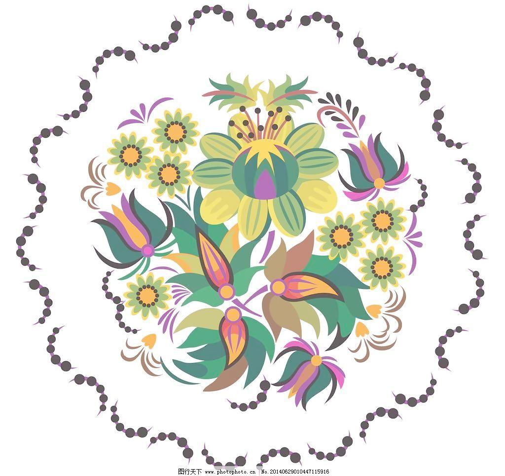 发财树 韩国 手绘花纹 精美花纹 花纹贴图 圆形花纹 花开富贵 中国风
