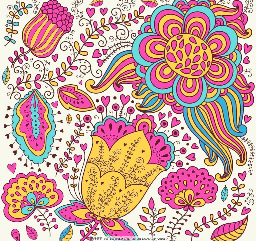 古典 花 花边 花草 手绘花卉 花卉 卡通背景 时尚花卉 复古 古典 花边