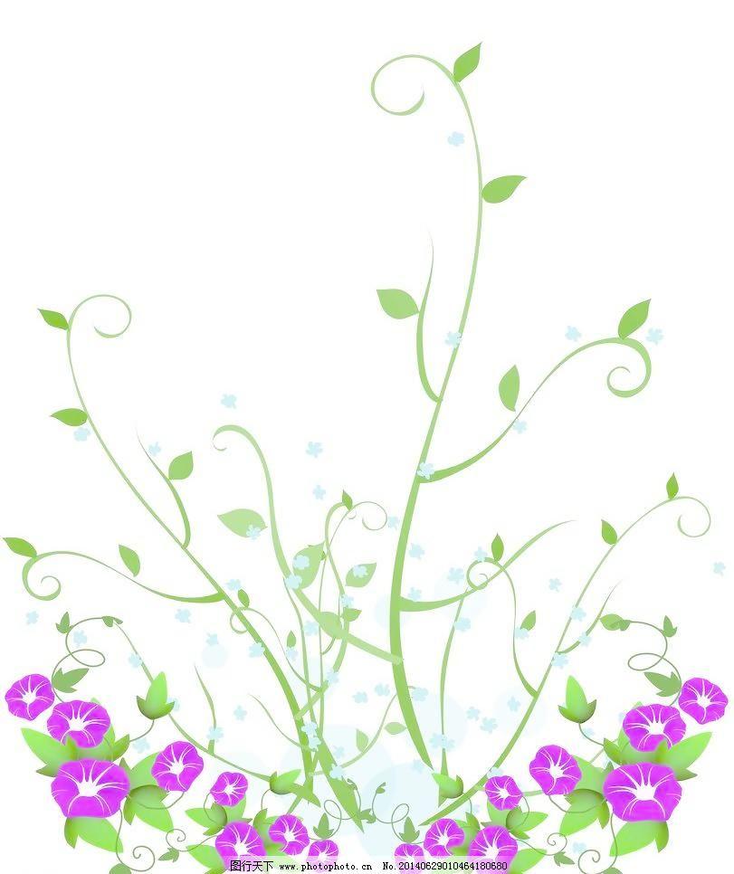 牵牛花,牵牛花免费下载 底纹边框 藤蔓 移门图案 植物