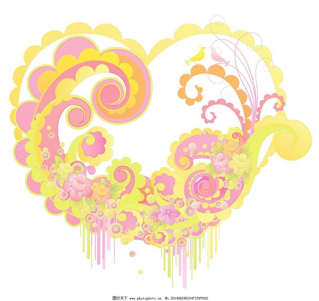 手绘花纹 心形花纹 精美花纹 花纹贴图 圆形花纹 花开富贵 中国风