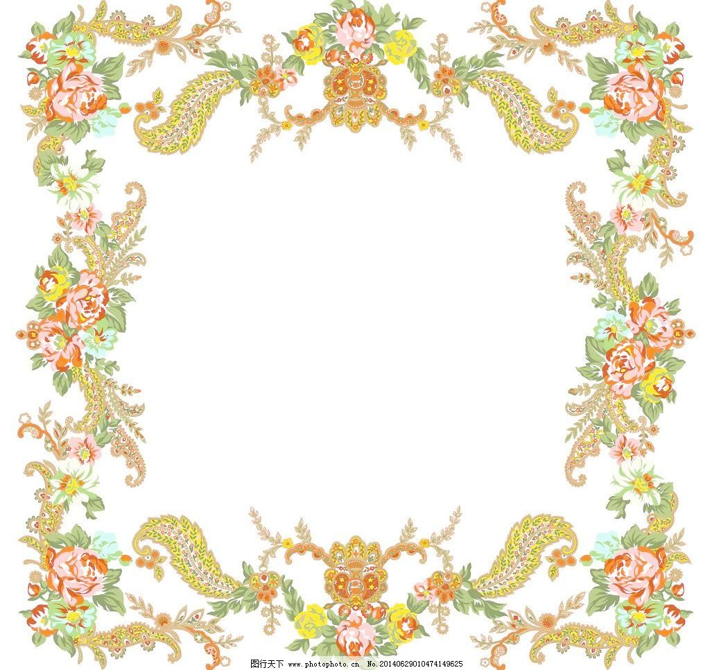 玫瑰图案 花卉边框 梦幻 粉玫瑰 手绘花纹 手绘花朵 移门花纹 欧式