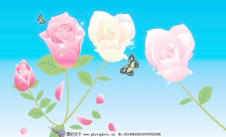 玫瑰花 玫瑰 花 花儿 蝴蝶 蜗牛 花瓣 花朵 叶子 绿叶 移门 星星 移门