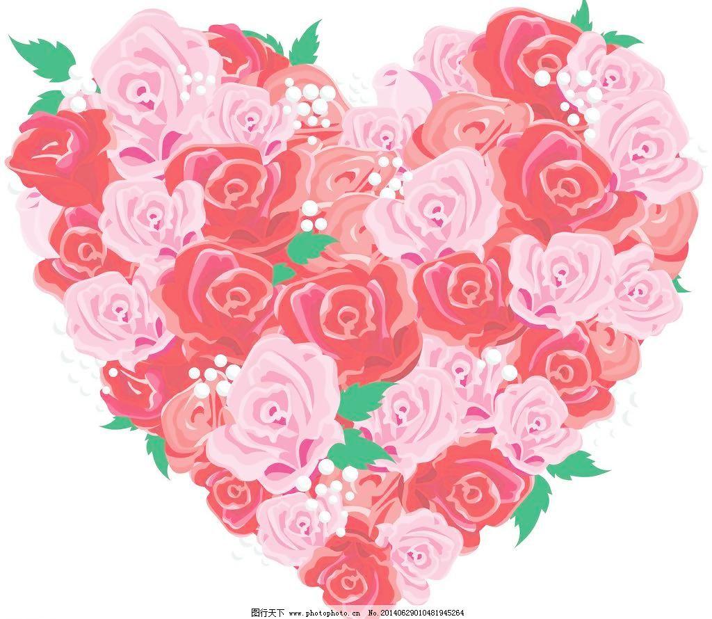粉玫瑰 粉色 红玫瑰 花草 玫瑰 心形 爱心 爱情 玫瑰花 粉玫瑰 手绘