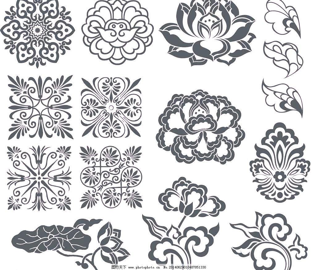 花草 花朵 花卉 手绘花卉 花卉 矢量花纹 黑白花卉 矢量花纹边框 手绘